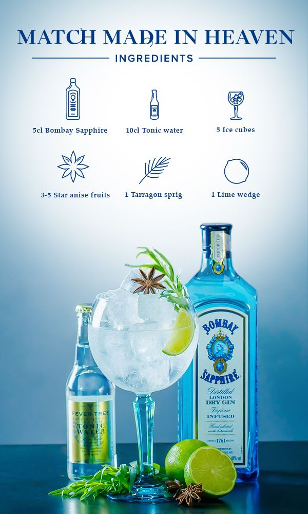 Match Made in Heaven:  1. Fill glass with ice cubes, add 5cl Bombay Sapphire and top off with tonic water.  2. Garnish with tarragon sprig, star anise, and a lime wedge.  #BombaySapphire #UltimateGinTonic