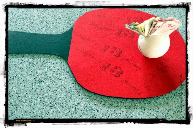 Gutschein selber basteln: Tischtennis Schläger für Kinder oder Erwachsene. Geldgeschenk verpacken:  https://einfachstephie.de/2013/10/02/gutscheine-selbst-basteln-und-geldgeschenke-persoenlich-gestalten/