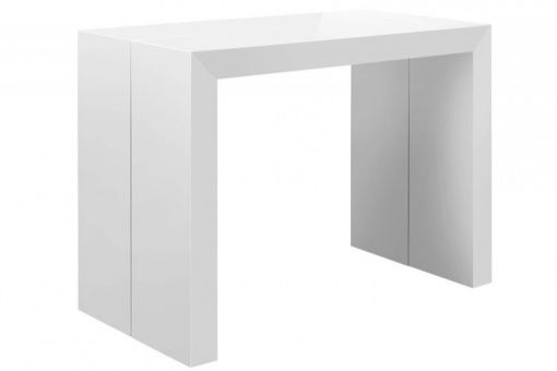 Table console extensible blanc laqué Nicky 3 rallonges