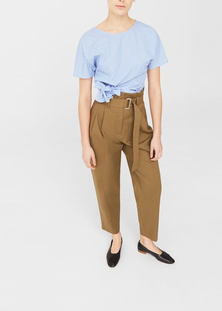 Bow cropped blouse -  Woman | MANGO United Kingdom