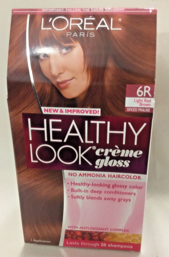 3 LOREAL HEALTHY LOOK Creme Gloss Hair LIGHT RED BROWN 6R / SPICED PRALINE #loreal