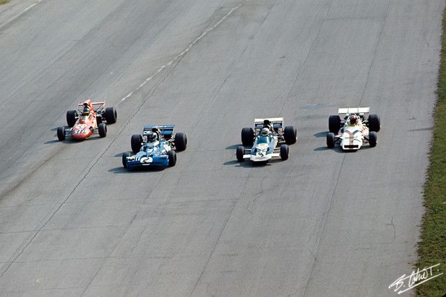 """ The closest finish in F1 history - Monza 1971. Peter Gethin (right), Ronnie Peterson (left), Francois Cevert (middle left) and Mike Hailwood (middle right) and Howden Ganley..."
