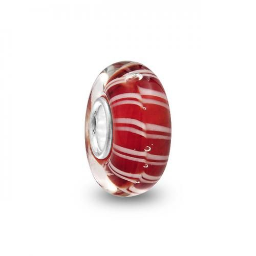 Red White Murano Glass Bead Troll Chamilia Pandora Pugster Compatible