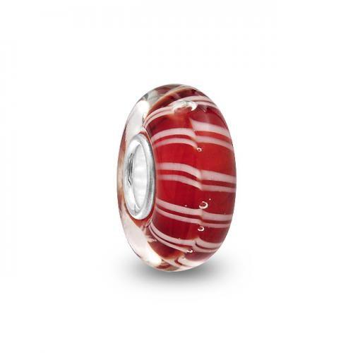 Red White Murano Glass Bead Troll Chamilia Pandora Pugster Compatible