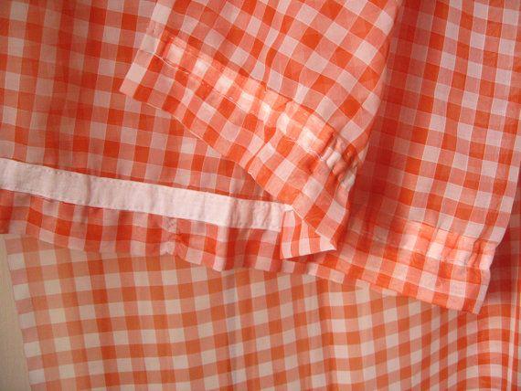 2 Rideaux à carreaux orange et blancs / Voilage par LMsoVintage