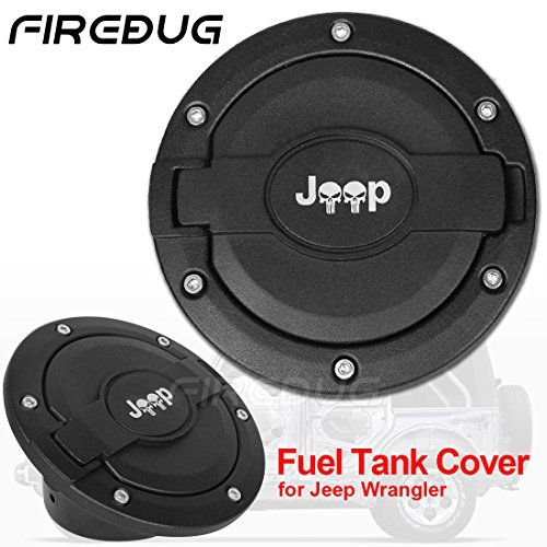 Firebug Jeep Wranglers Fuel Door Cover, Jeep Fuel Tank Cover, Jeep Gas Cap Cover Black, Jeep Fuel Filler Door Cover, Jeep Wrangler Accessories, Jeep Unlimited Wrangler Accessories  Black Fuel Filler Door Cover Gas Cap Cover, JK & Unlimited accessories for 4-Door 2-Door Jeep Wrangler 2007-2016  Frebug Jeep Wrangler Gas Cap Cover is made with Metal Cap + High Quality Plastic Base  The unique design on the Satin Black Jeep Wrangler Cover provide your Jeep Wrangler a personalized look  Inc...