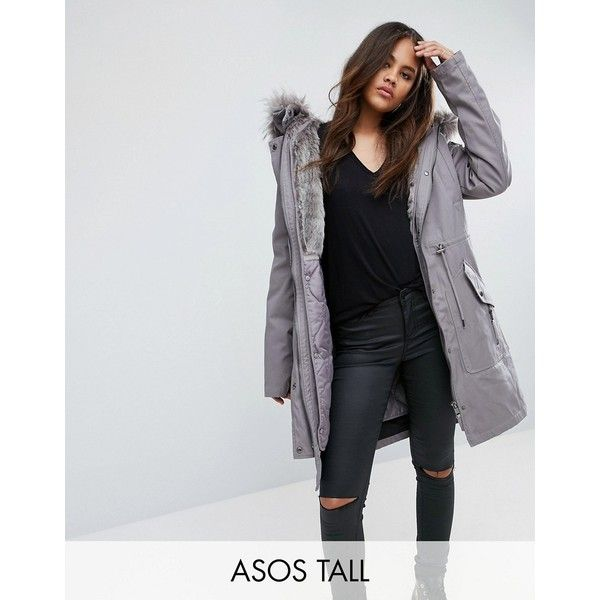 ASOS TALL Parka with Detachable Faux Fur Liner ($115) ❤ liked on Polyvore featuring outerwear, coats, grey, parka coat, asos coats, faux fur parka, fake fur lined coats and padded parka