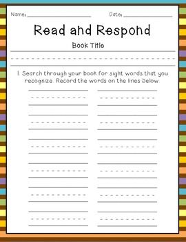 Read & Respond- A Guided Reading  Brittany's response: I would like to be able to place this in each child's individual reading/ writing folder, so they could use it as an independent learning tool to help aid in sight word recognition.