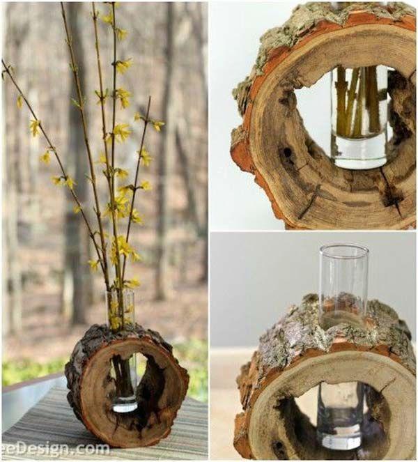 Ahşap Kütük Parçalarıyla Dekoratif El Yapımı Vazo Fikirleri (6)