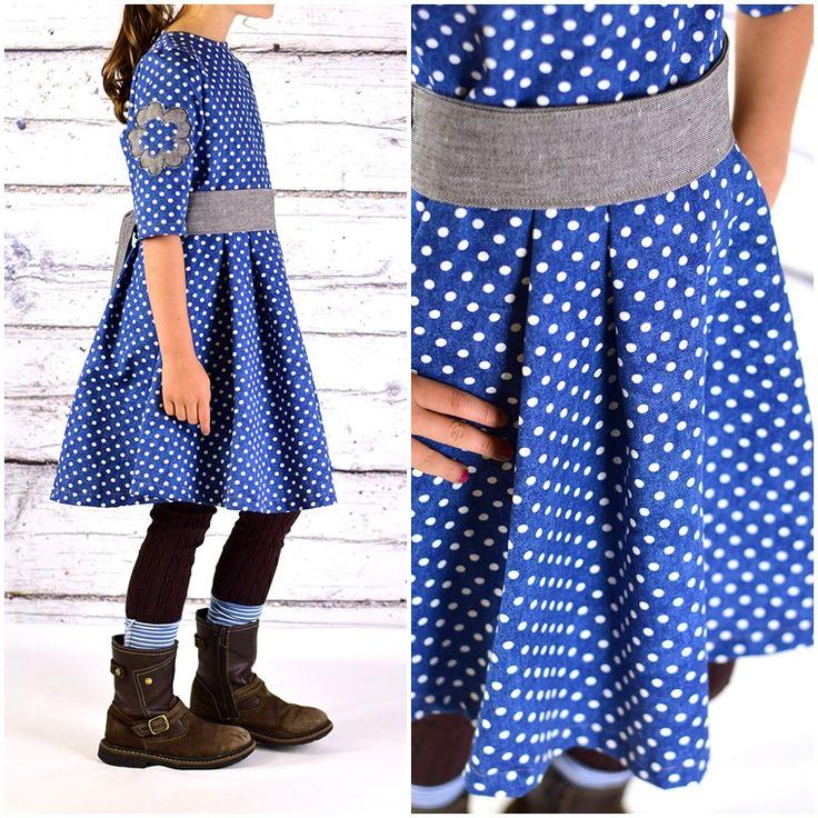 Ebook Schnittmuster Kleid mit Schärpe Jeanskleid Bubikragen kostenloses Schnittmuster