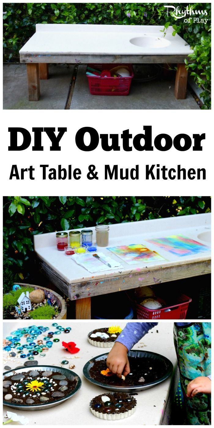 DIY Outdoor Art Table And Mud Kitchen | Outdoor Art, Montessori Practical  Life And Mud Pie Kitchen