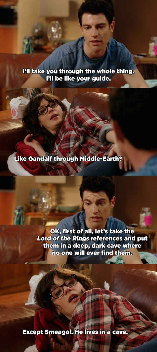 "a quote from ever episode of ""New Girl"""