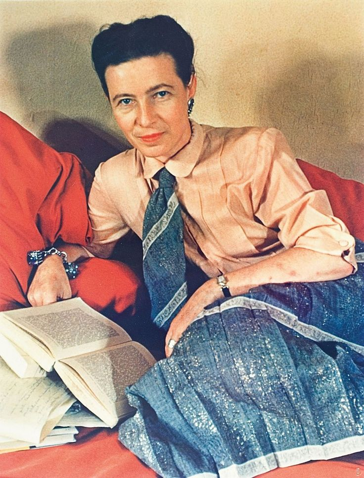 Simone de Beauvoir reading. Photograph by Gisèle Freund (1939). Simone de Beauvoir (1908-1986), was a French writer, intellectual, existentialist philosopher, political activist, feminist and social theorist. Though she did not consider herself a philosopher, she had a significant influence on both feminist existentialism and feminist theory.