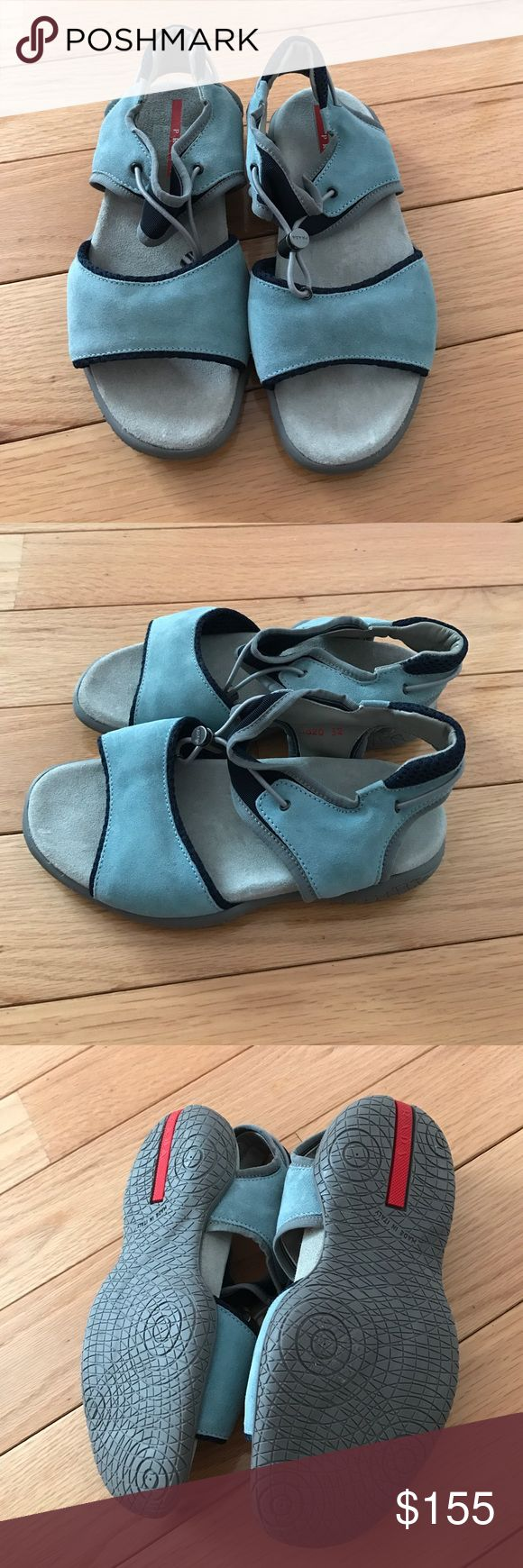 Prada sport girls sandals blue Sz 32 new Brand new Prada baby blue suede sandals with grey sole and navy trim adjustable toggle pull rubber soles Sz 32 Prada Shoes Sandals & Flip Flops