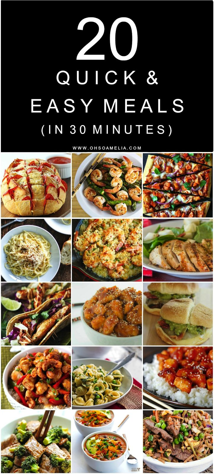 Here are 20 Quick & Easy Meals which you can prepare and cook in 30 minutes or less which are great for busy mums or after a long day at work!