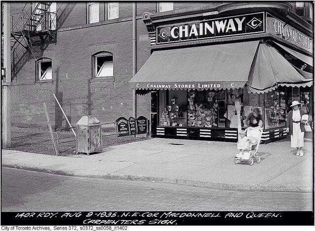 Northeast corner, Macdonnell and Queen, Toronto, August 9, 1935.