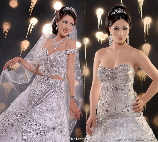 Bling bling wedding dress from Dar Laroussa robes et kesswa de mariage: (on Left) Too much skin in middle but amazing details and style overall
