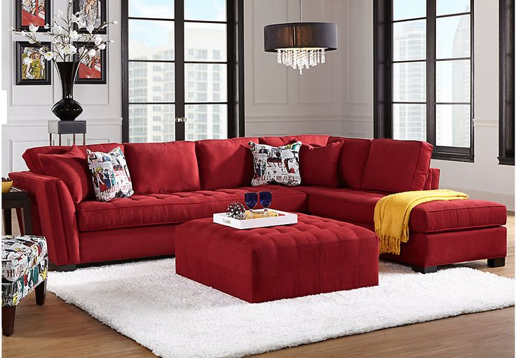 Cindy Crawford Home Calvin Heights XL Cardinal 2 Pc Sectional -Living Room Sets (Red)