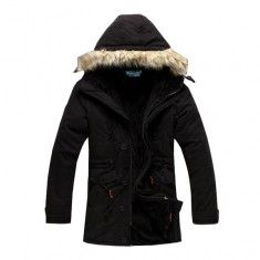 Men's Winter Fur Hooded Stylish Outdoor Parka Thick Warm Coat