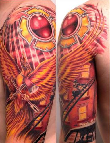 Half sleeves firefighters and phoenix on pinterest for Firefighter sleeve tattoo