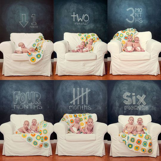 8 monthly baby photo ideas ...love the chalkboard wall