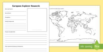 Early European Explorers Research Activity Sheets - Early European Explorers, Vasco da Gama, Christopher Columbus, Marco Polo, Ferdinand Magellan, Barto