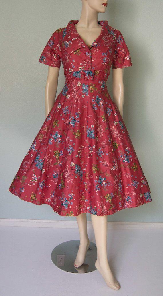 1950s Polished Cotton Floral Print Strappy Dress Jacket Set // Delicious Spring Floral // Gored // Princess Seams // Bolero Jacket