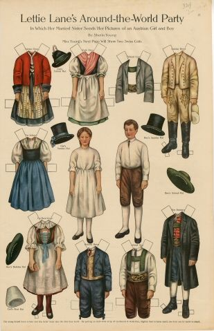 Lettie Lane's Around-the-World Party: Austrian Girl and Boy  paper doll  1910  Artist:  Sheila Young