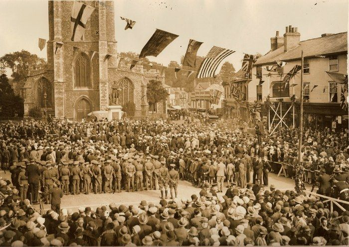 Gen. Dawes speech in the town square of Sudbury Suffolk UK 1928