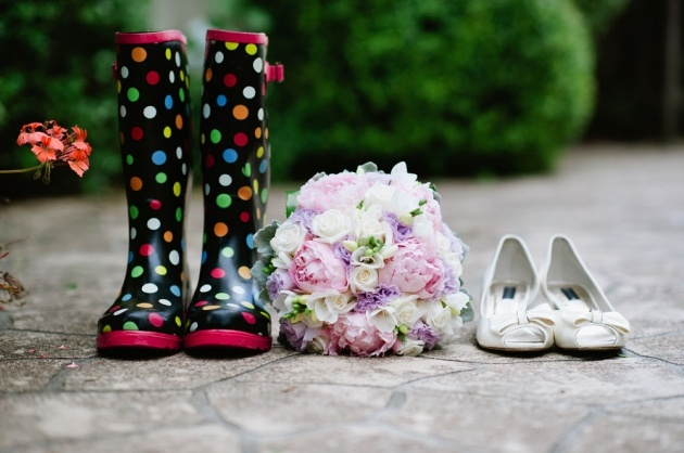 it was a wet day.....the bride was prepared!