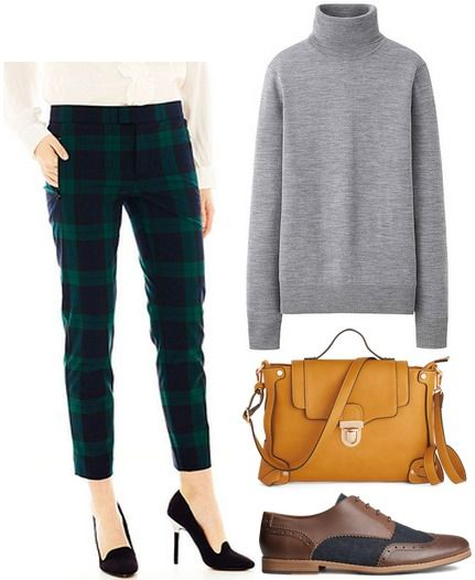 60s inspired outfit plaid pants and turtleneck