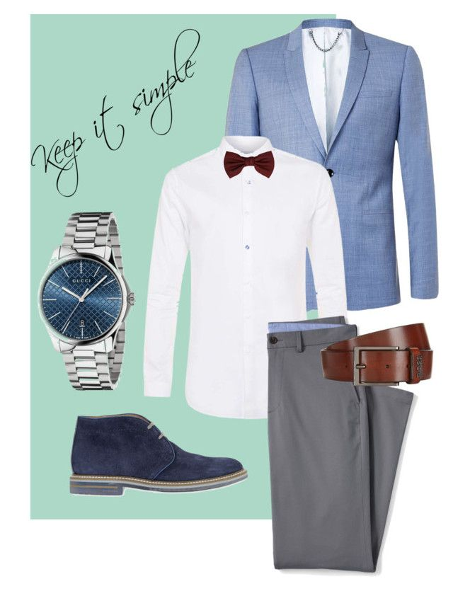 """Keep it simple"" by stylove-ewolucje on Polyvore featuring Topman, Lands' End, Brimarts, Gucci, Lanvin, BOSS Hugo Boss, men's fashion, menswear, simple i business"