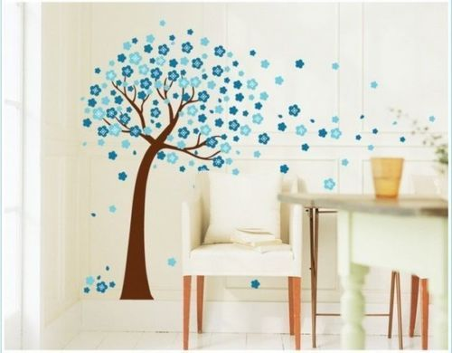 Blue-Love-Tree-Birds-PVC-Wall-Stickers-Wall-Decals
