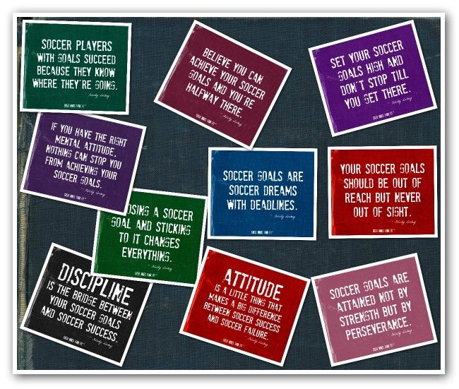 #Soccer #poster collage with 10 #motivational #soccer #quotes.