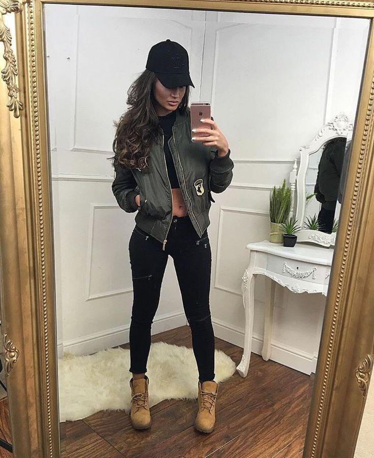 Megan McKenna bomber jacket and black jeans