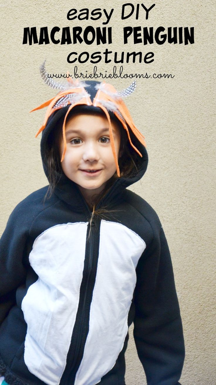 The DIY Macaroni Penguin Costume is great for the entire family! Make this easy costume with just a hoodie, white tee, orange felt, and feathers! #HalloweenSpooktacular #MacaroniPenguin #DIYcostume