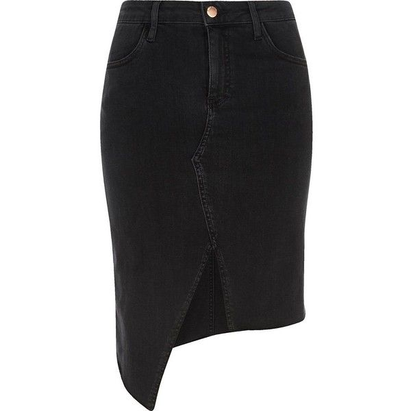River Island Black washed asymmetric denim skirt (£55) ❤ liked on Polyvore featuring skirts, black, midi skirts, women, asymmetrical zipper skirt, zipper skirt, denim skirt, midi skirt and calf length denim skirts