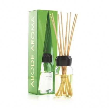 Abode Aroma Neon Diffuser – Olive Grove. Deep and earthy olive leaf, blackcurrant and fig combines with spice and abundant green foliage.  120ml diffuser.