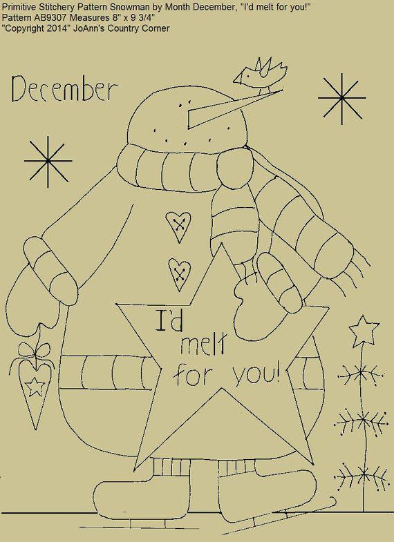 "Primitive Stitchery E-Pattern Snowman by Month December, ""I'd melt for you!"""
