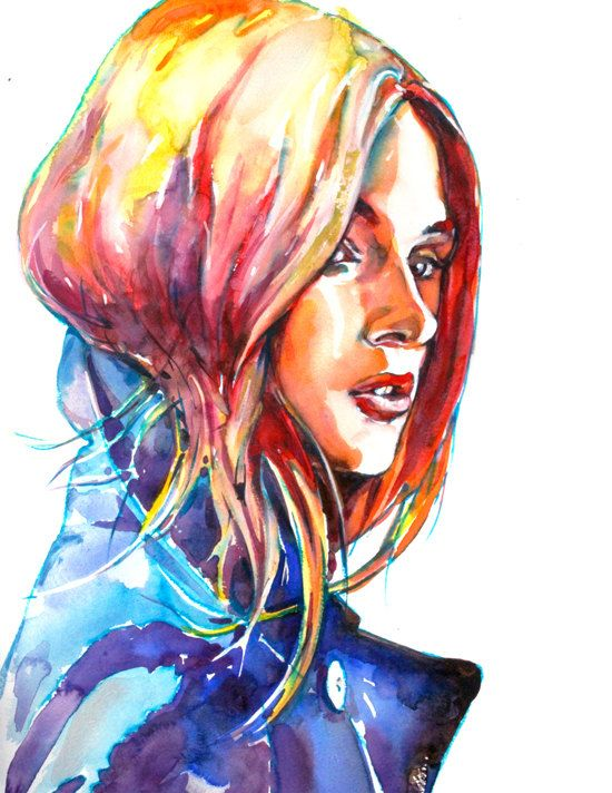 "Fashion Illustration Print Watercolor , Art Print, Portrait Painting Wall Decor 8.5"" x 11"""