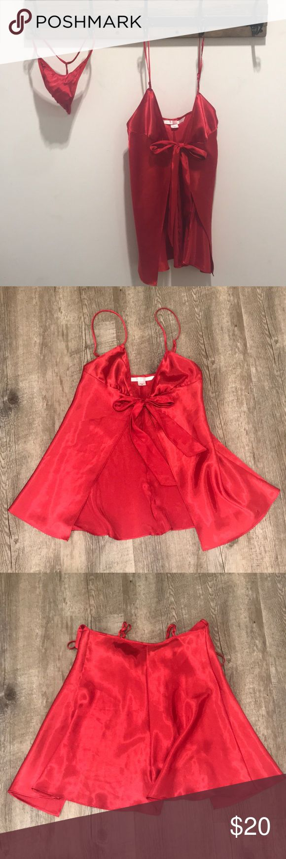 Valentine's Day Babydoll Set! Satin red set from VS. size XS. Can come with or without thing. Will match any red underwear. Victoria's Secret Intimates & Sleepwear Chemises & Slips