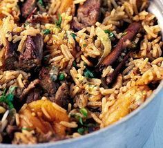 spicy Moroccan rice with apricots and chicken