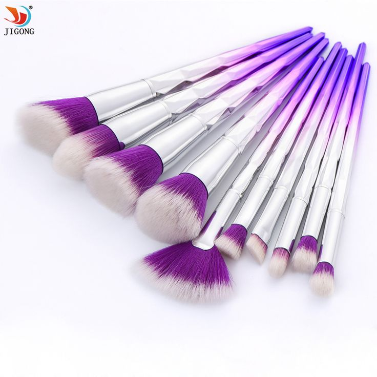 10 pcs Makeup Brushes Set Rainbow Gradient Diamond Cosmetic Base Brush Foundation Eye shadow Blush Powder Make up Brush Kit #Affiliate