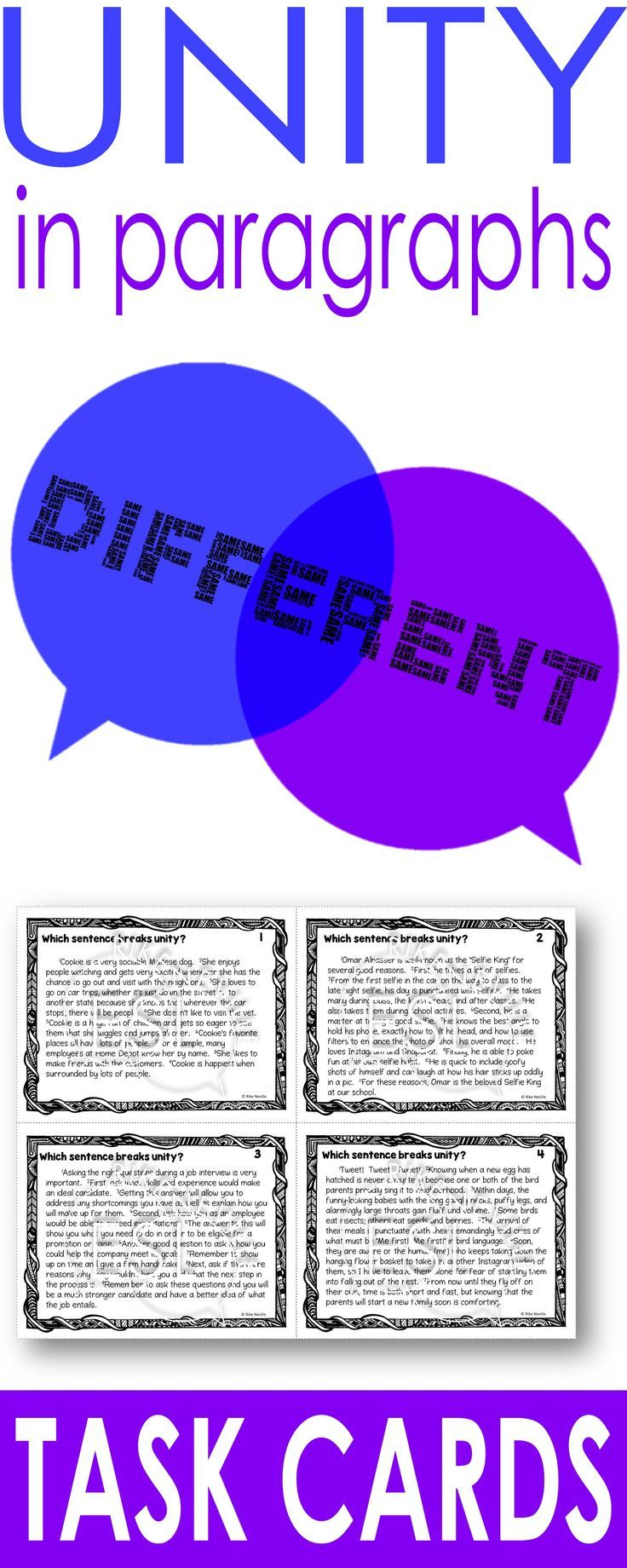 Paragraph Unity (task cards) | Writing Resources for Adult