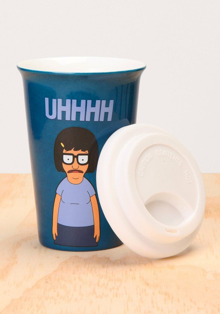11 oz ceramic travel mug with silicone top. Drown your embarassment and sorrows in a hot cup of magical espresso.