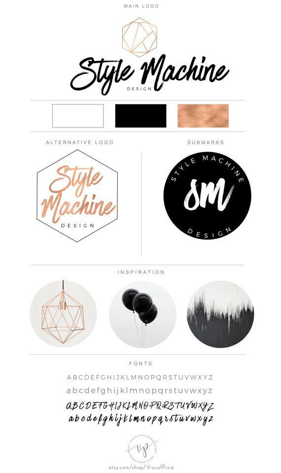 Branding pakket zeshoekige Rose Gold Initials Logo - moderne minimalistische fotografie Logo watermerk Submark alternatieve Fashion Boutique Logo