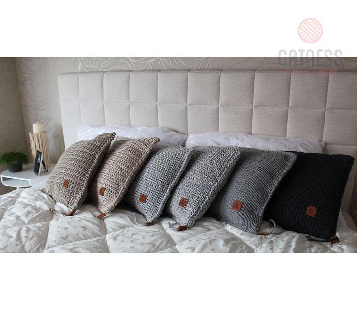 Hand-knitted cushion. Knitted cushion. Soft furnishing. Modern design.
