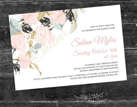 Pastel pink & blue floral Tea Party Invitation  by Time4TeaParties