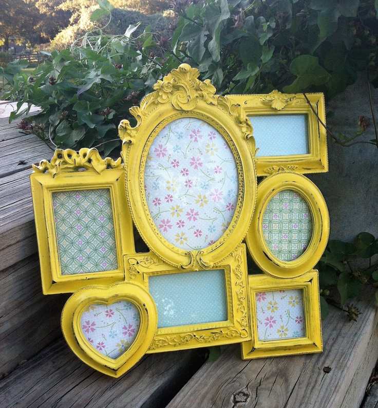 French Cluster Frame / Cottage Chic Yellow Picture Frames / Oval, Heart, Square, Rectangle. $44.00, via Etsy.