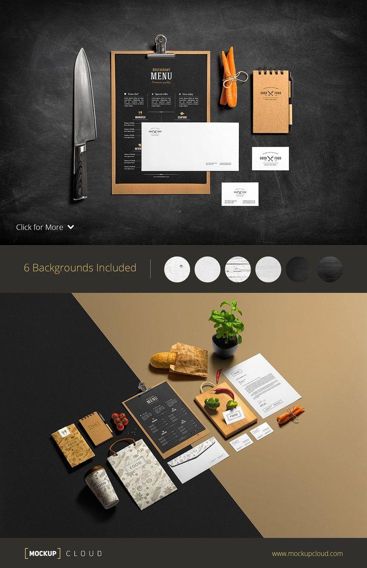 Restaurant Bar Stationery Mock Up Menu Mockup Stationery Mockup Recipe Cards Template